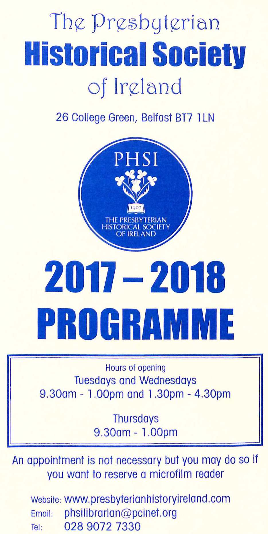 Cover image - PHSI Programme 2017-18