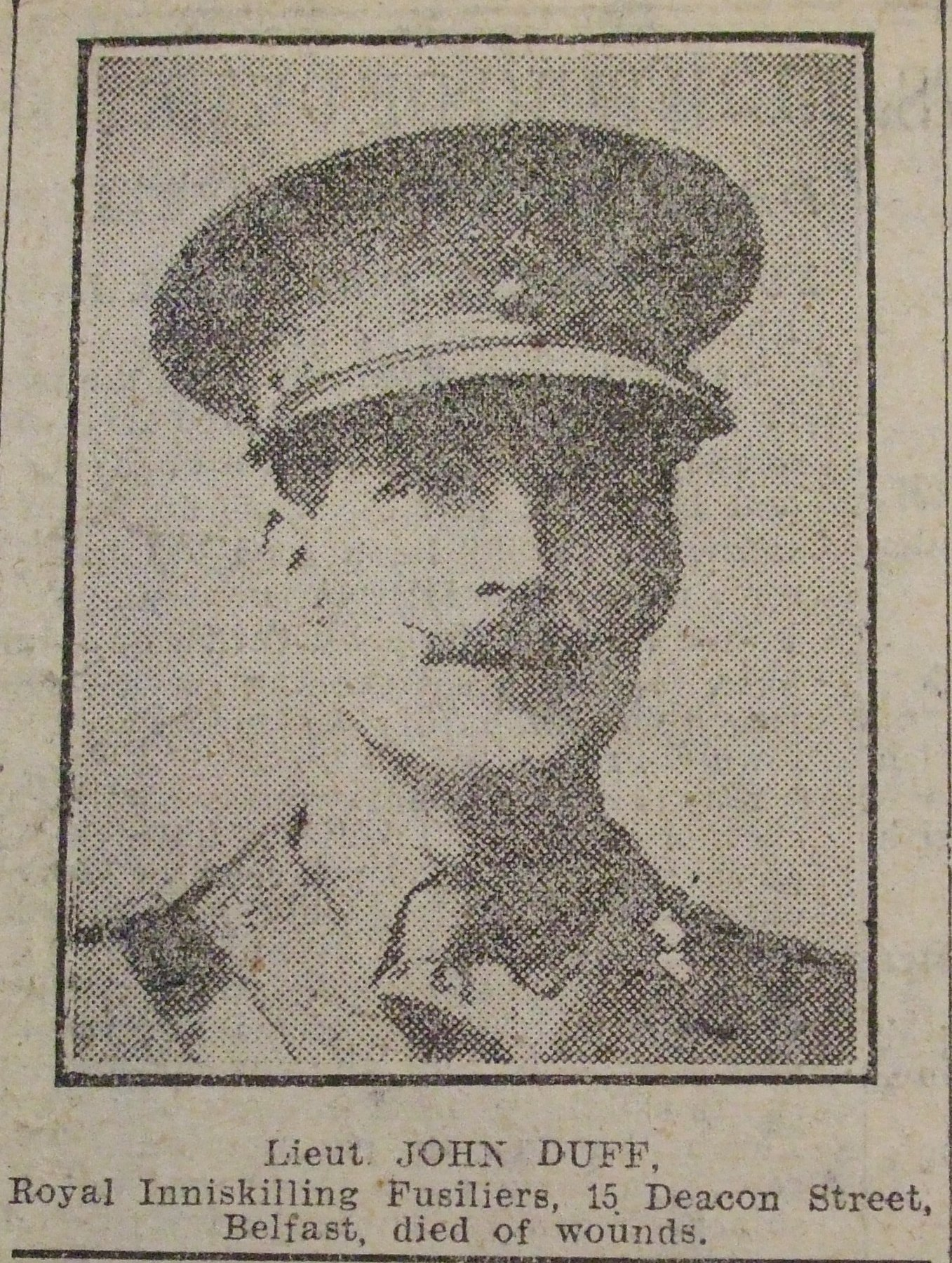 Newspaper cutting  - Lieutenant John Duff, RInF