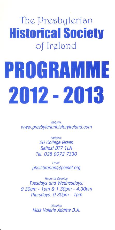 2012-2013 Programme Card